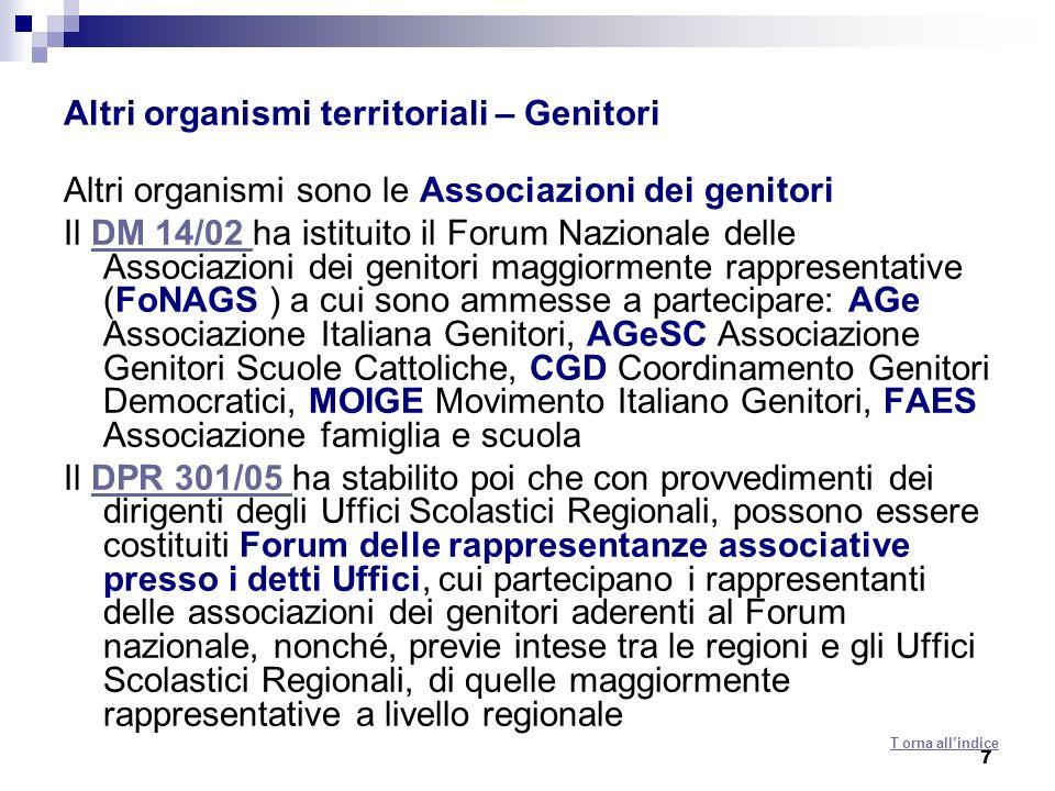 7 Altri organismi territoriali – Genitori Altri organismi sono le Associazioni dei genitori Il DM 14/02 ha istituito il Forum Nazionale delle Associaz