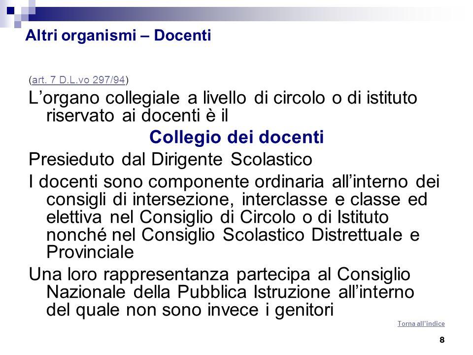 8 Altri organismi – Docenti (art. 7 D.L.vo 297/94)art. 7 D.L.vo 297/94 Lorgano collegiale a livello di circolo o di istituto riservato ai docenti è il