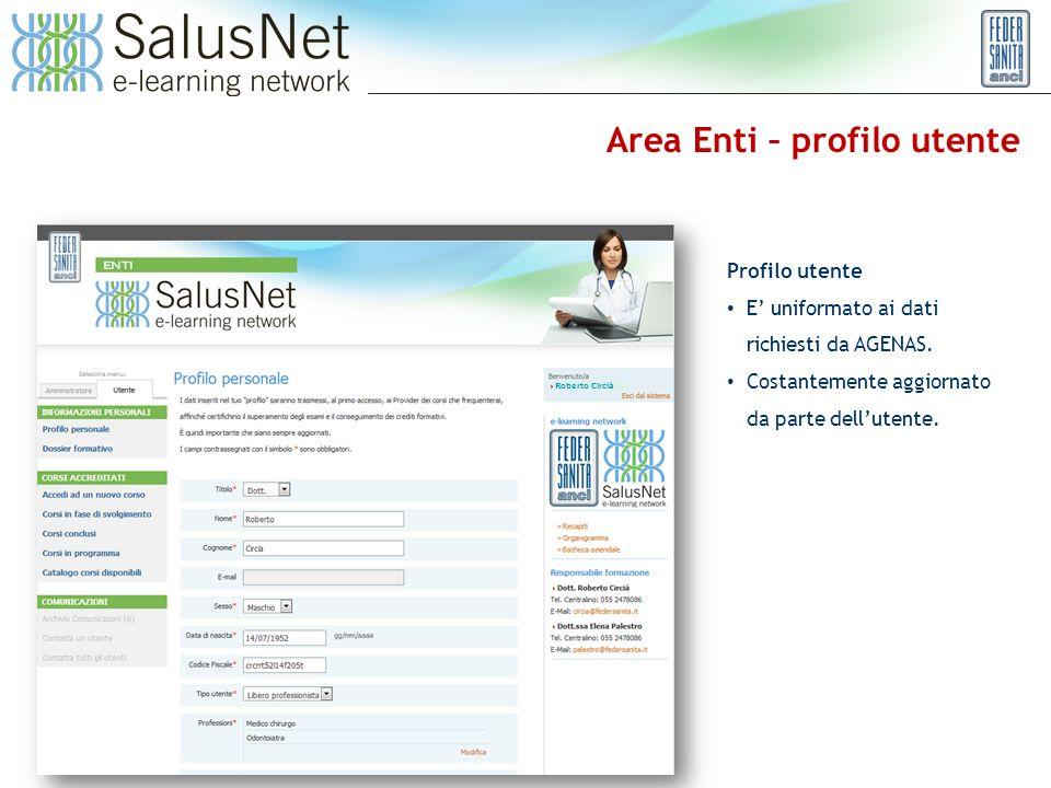 Area Enti – profilo utente Profilo utente E uniformato ai dati richiesti da AGENAS.