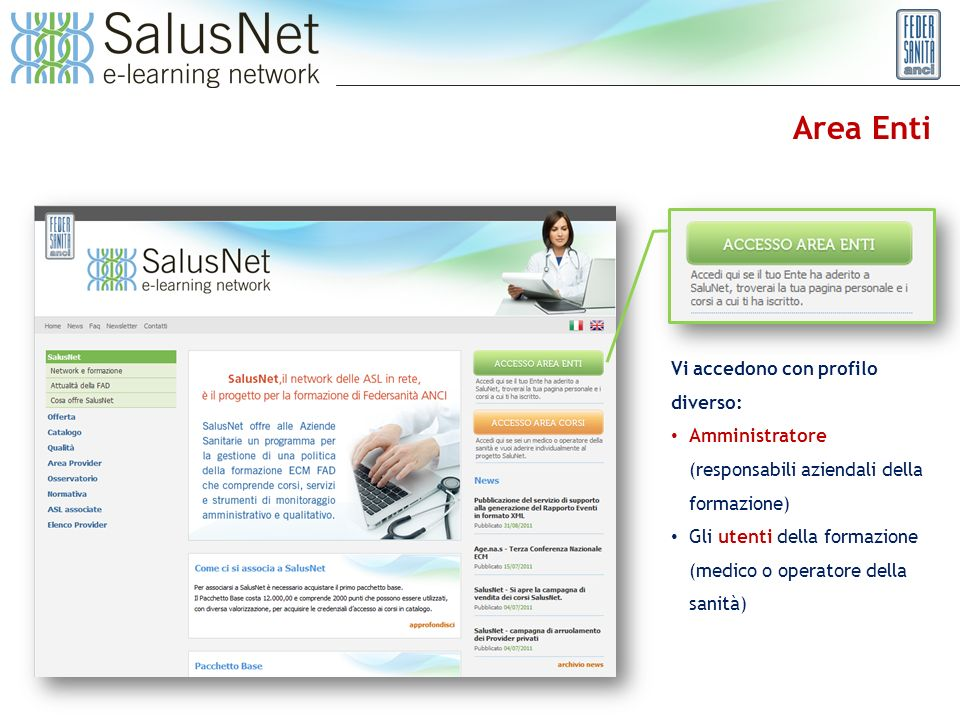 Area Enti Vi accedono con profilo diverso: Amministratore (responsabili aziendali della formazione) Gli utenti della formazione (medico o operatore della sanità)