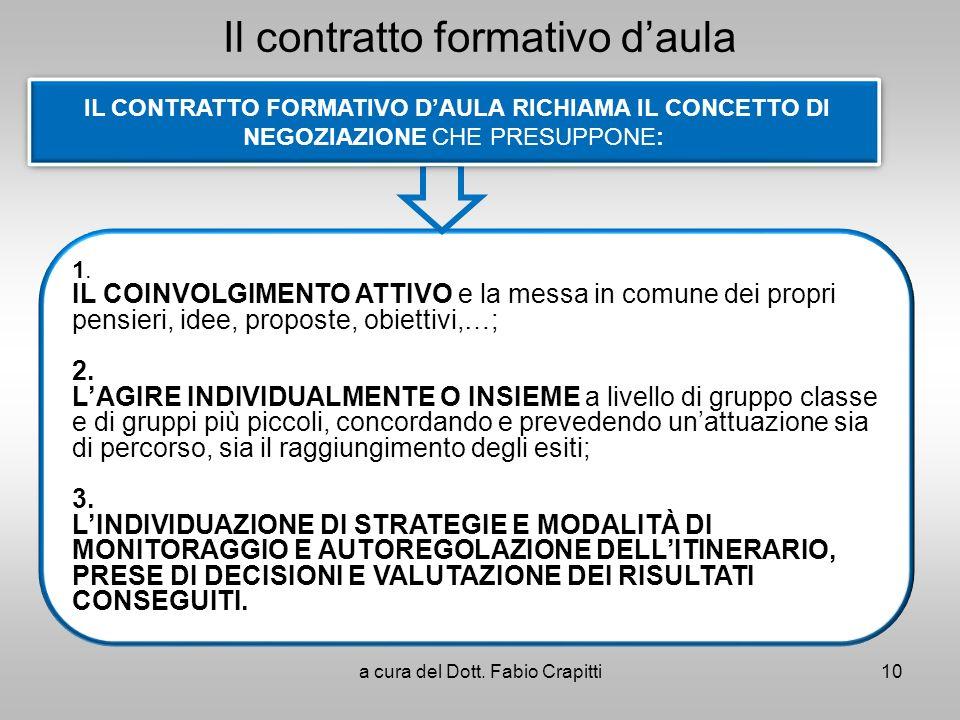Il contratto formativo daula 10a cura del Dott. Fabio Crapitti 1. IL COINVOLGIMENTO ATTIVO e la messa in comune dei propri pensieri, idee, proposte, o