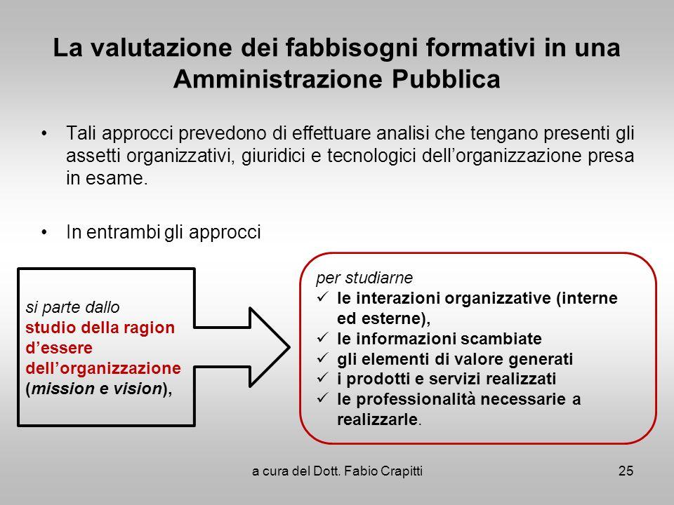 La valutazione dei fabbisogni formativi in una Amministrazione Pubblica Tali approcci prevedono di effettuare analisi che tengano presenti gli assetti