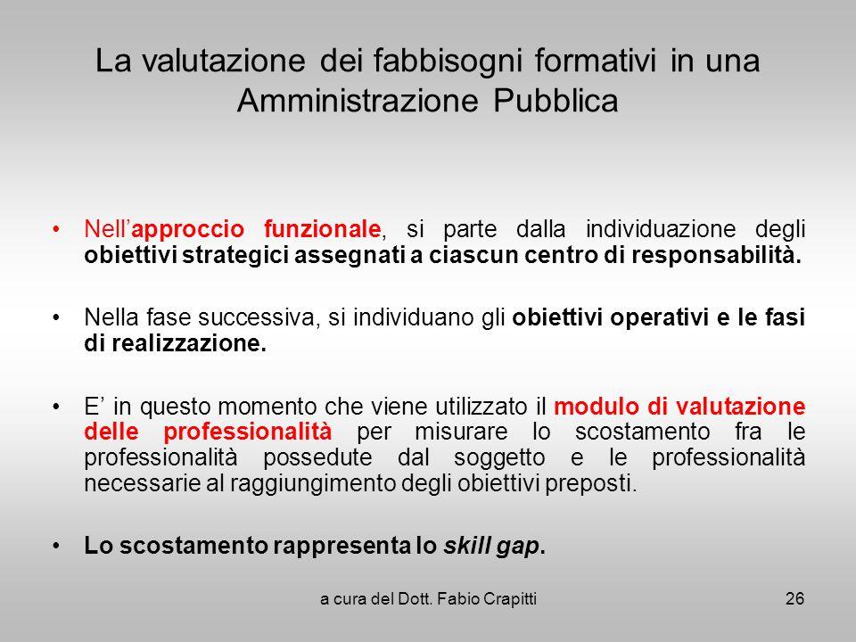 La valutazione dei fabbisogni formativi in una Amministrazione Pubblica Nellapproccio funzionale, si parte dalla individuazione degli obiettivi strate