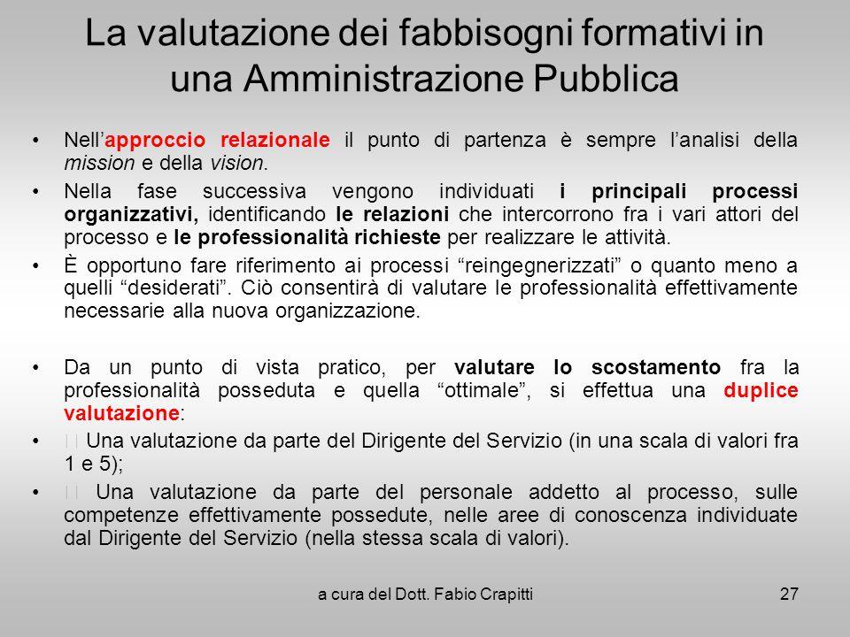 La valutazione dei fabbisogni formativi in una Amministrazione Pubblica Nellapproccio relazionale il punto di partenza è sempre lanalisi della mission