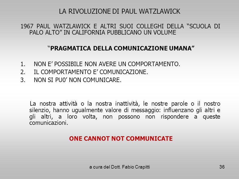 LA RIVOLUZIONE DI PAUL WATZLAWICK 1967 PAUL WATZLAWICK E ALTRI SUOI COLLEGHI DELLA SCUOLA DI PALO ALTO IN CALIFORNIA PUBBLICANO UN VOLUME PRAGMATICA D