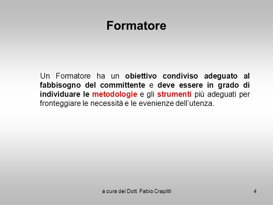 Formatore Un Formatore ha un obiettivo condiviso adeguato al fabbisogno del committente e deve essere in grado di individuare le metodologie e gli str
