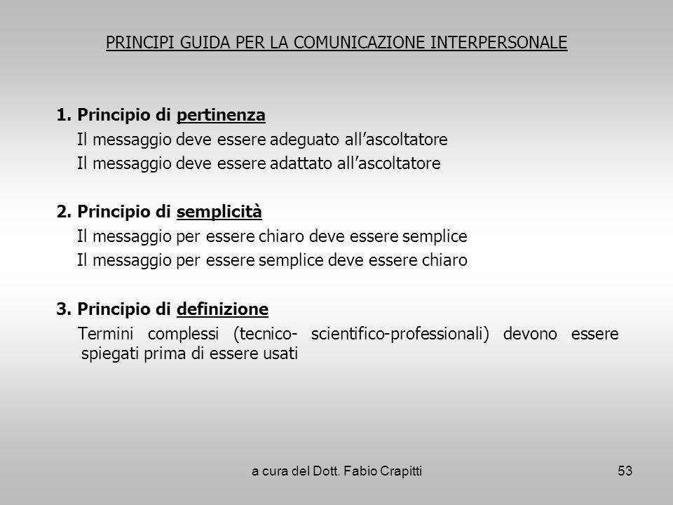 PRINCIPI GUIDA PER LA COMUNICAZIONE INTERPERSONALE 1. Principio di pertinenza Il messaggio deve essere adeguato allascoltatore Il messaggio deve esser