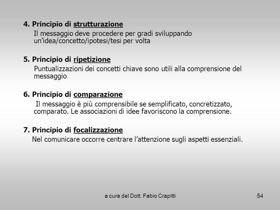 4. Principio di strutturazione Il messaggio deve procedere per gradi sviluppando unidea/concetto/ipotesi/tesi per volta 5. Principio di ripetizione Pu