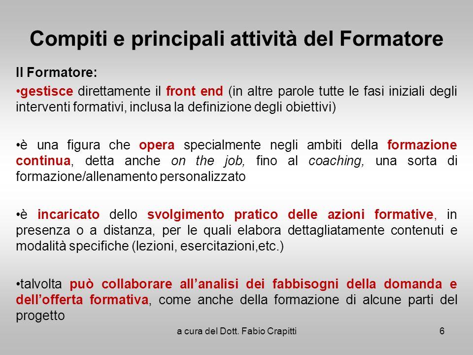 Compiti e principali attività del Formatore Il Formatore: gestisce direttamente il front end (in altre parole tutte le fasi iniziali degli interventi
