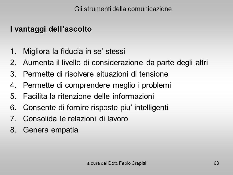 Gli strumenti della comunicazione I vantaggi dellascolto 1. Migliora la fiducia in se stessi 2. Aumenta il livello di considerazione da parte degli al