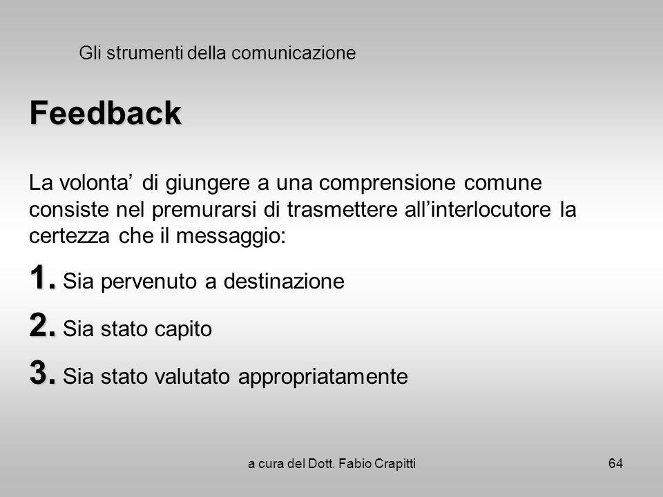 Gli strumenti della comunicazione Feedback La volonta di giungere a una comprensione comune consiste nel premurarsi di trasmettere allinterlocutore la