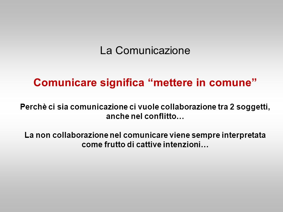 La Comunicazione Comunicare significa mettere in comune Perchè ci sia comunicazione ci vuole collaborazione tra 2 soggetti, anche nel conflitto… La no