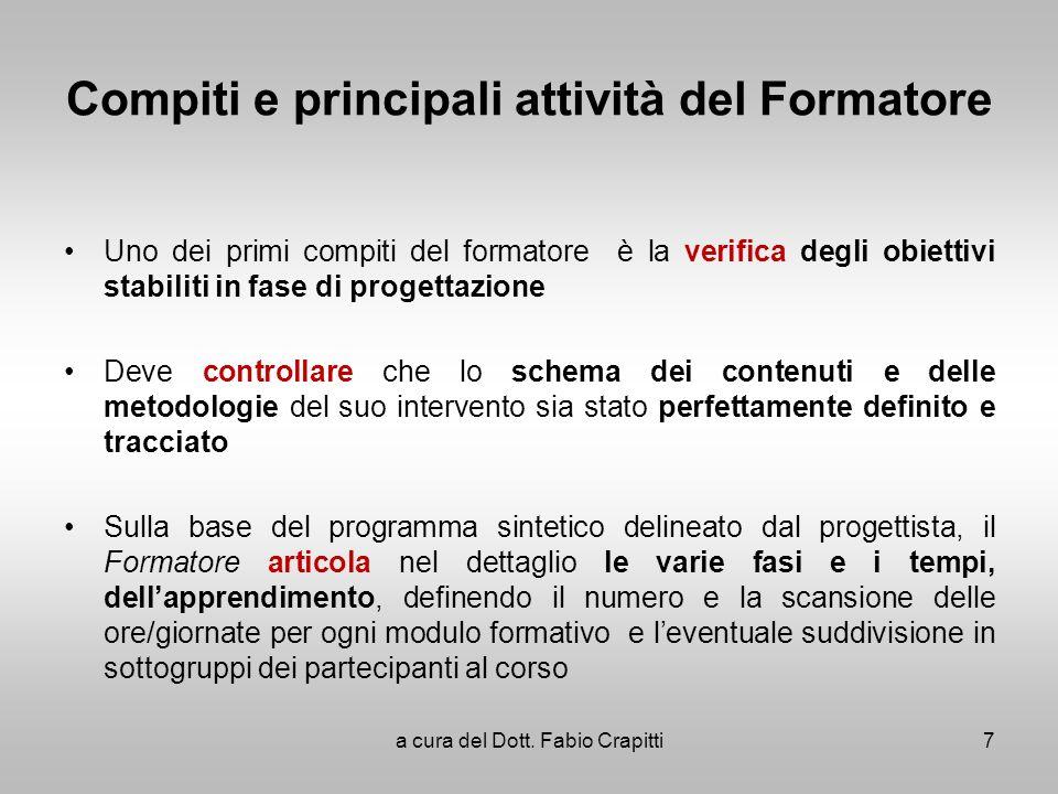 Compiti e principali attività del Formatore Uno dei primi compiti del formatore è la verifica degli obiettivi stabiliti in fase di progettazione Deve