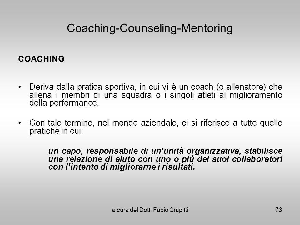Coaching-Counseling-Mentoring COACHING Deriva dalla pratica sportiva, in cui vi è un coach (o allenatore) che allena i membri di una squadra o i singo