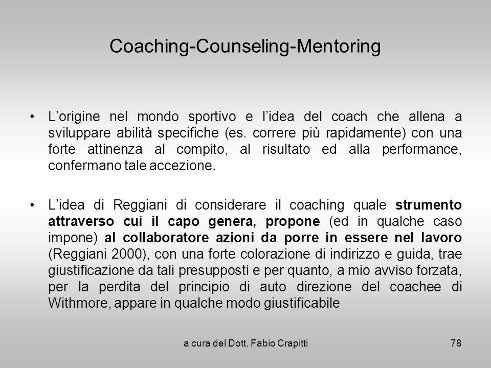 Coaching-Counseling-Mentoring Lorigine nel mondo sportivo e lidea del coach che allena a sviluppare abilità specifiche (es. correre più rapidamente) c