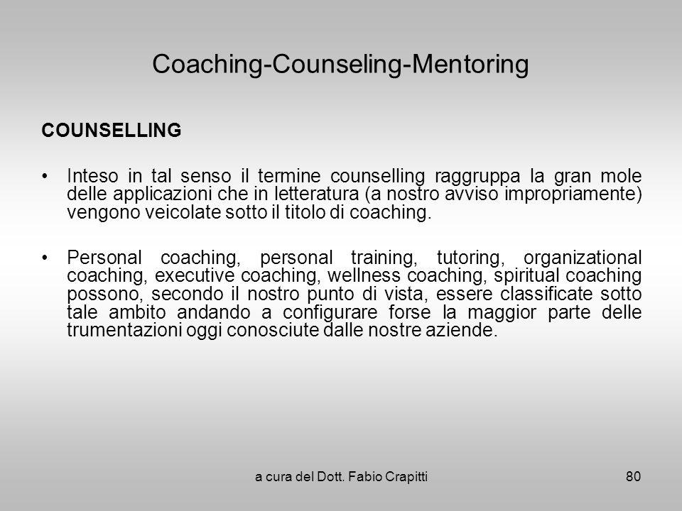 Coaching-Counseling-Mentoring COUNSELLING Inteso in tal senso il termine counselling raggruppa la gran mole delle applicazioni che in letteratura (a n