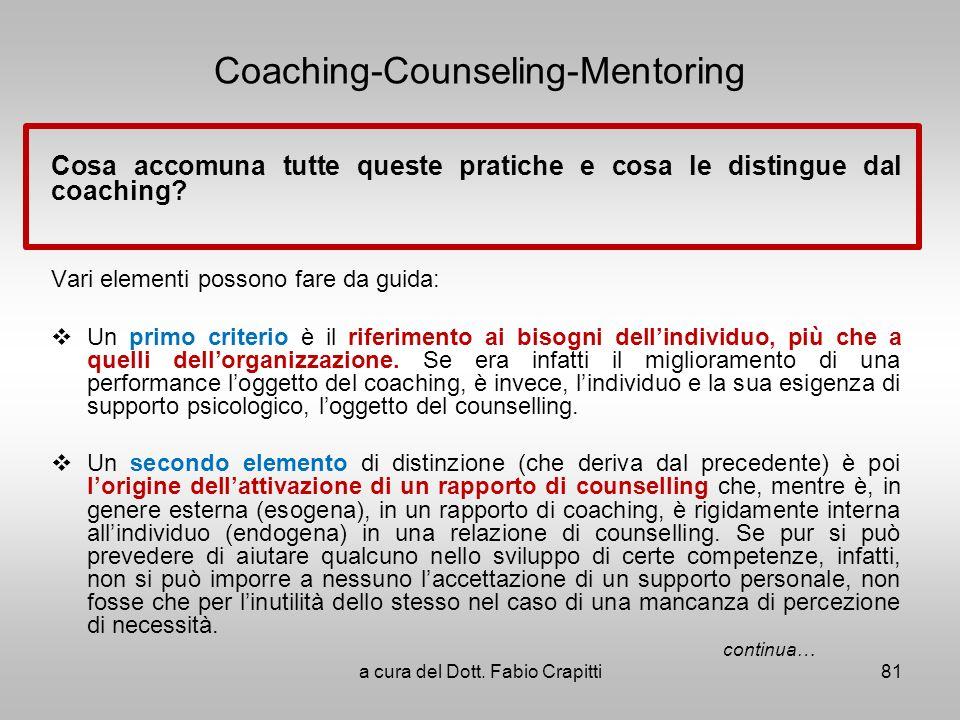 Coaching-Counseling-Mentoring Cosa accomuna tutte queste pratiche e cosa le distingue dal coaching? Vari elementi possono fare da guida: Un primo crit