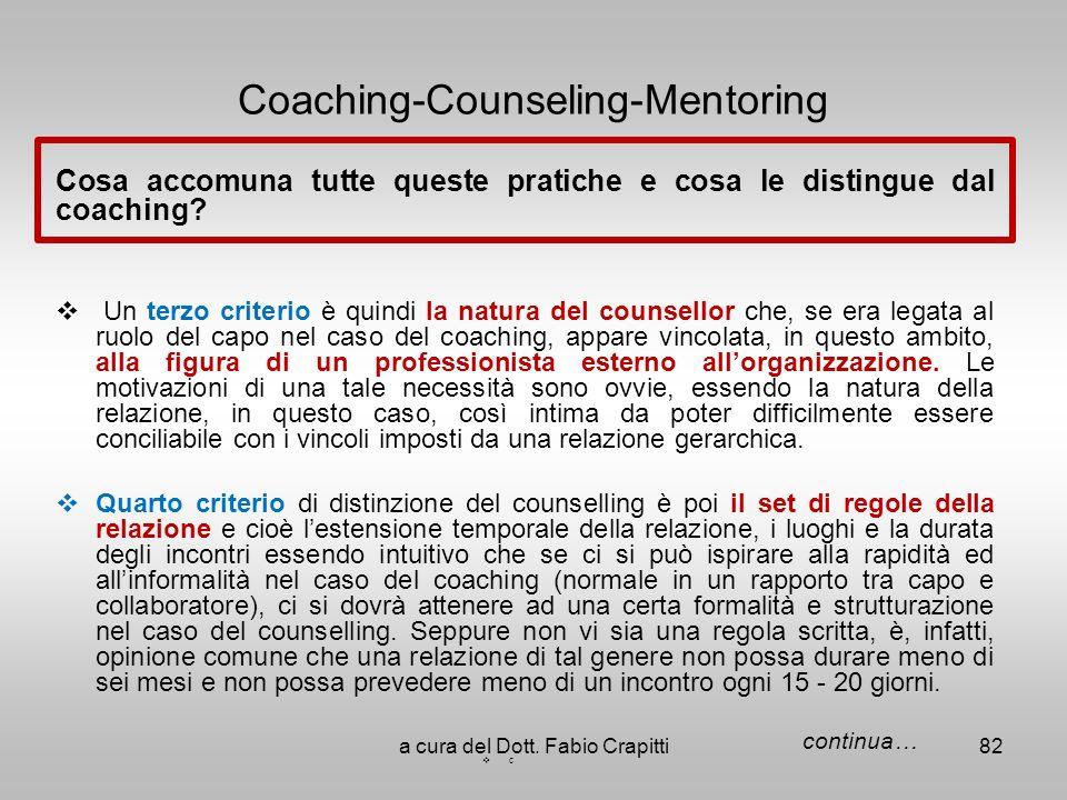 Coaching-Counseling-Mentoring Cosa accomuna tutte queste pratiche e cosa le distingue dal coaching? Un terzo criterio è quindi la natura del counsello
