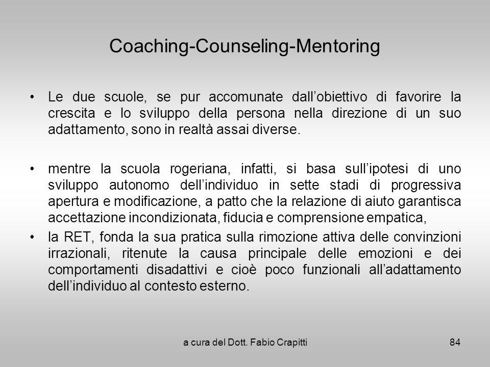 Coaching-Counseling-Mentoring Le due scuole, se pur accomunate dallobiettivo di favorire la crescita e lo sviluppo della persona nella direzione di un