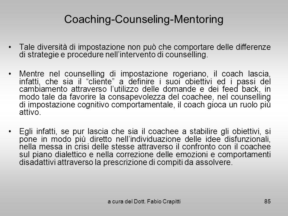 Coaching-Counseling-Mentoring Tale diversità di impostazione non può che comportare delle differenze di strategie e procedure nellintervento di counse