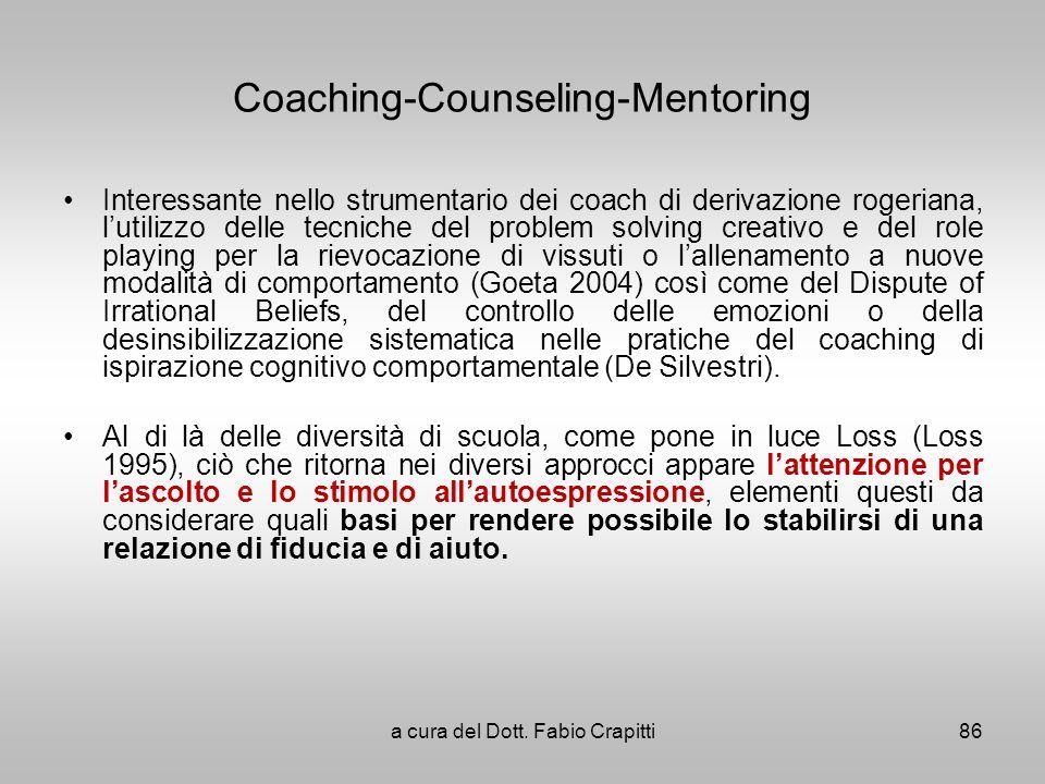 Coaching-Counseling-Mentoring Interessante nello strumentario dei coach di derivazione rogeriana, lutilizzo delle tecniche del problem solving creativ