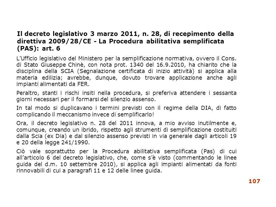 Il decreto legislativo 3 marzo 2011, n. 28, di recepimento della direttiva 2009/28/CE - La Procedura abilitativa semplificata (PAS): art. 6 LUfficio l