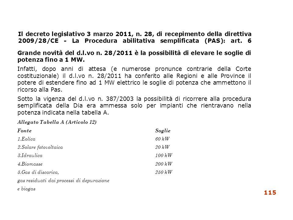 Il decreto legislativo 3 marzo 2011, n. 28, di recepimento della direttiva 2009/28/CE - La Procedura abilitativa semplificata (PAS): art. 6 Grande nov