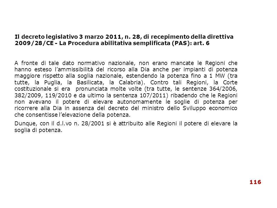 Il decreto legislativo 3 marzo 2011, n. 28, di recepimento della direttiva 2009/28/CE - La Procedura abilitativa semplificata (PAS): art. 6 A fronte d