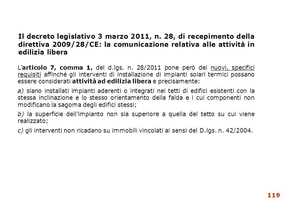 Il decreto legislativo 3 marzo 2011, n. 28, di recepimento della direttiva 2009/28/CE: la comunicazione relativa alle attività in edilizia libera Lart