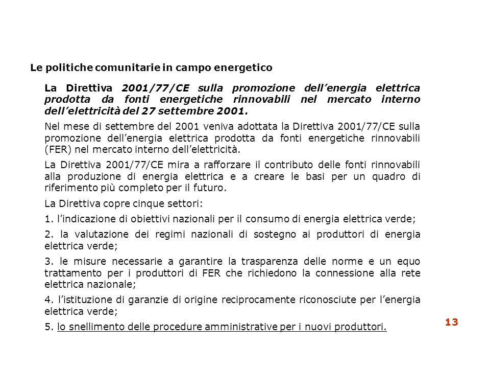 Le politiche comunitarie in campo energetico La Direttiva 2001/77/CE sulla promozione dellenergia elettrica prodotta da fonti energetiche rinnovabili