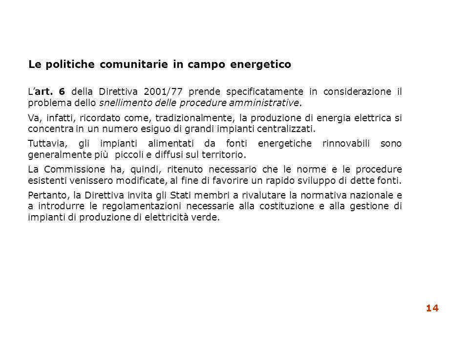 Le politiche comunitarie in campo energetico Lart. 6 della Direttiva 2001/77 prende specificatamente in considerazione il problema dello snellimento d