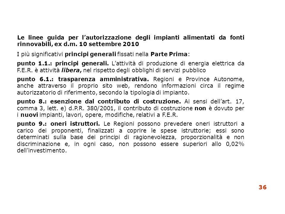 I più significativi principi generali fissati nella Parte Prima: punto 1.1.: principi generali. Lattività di produzione di energia elettrica da F.E.R.