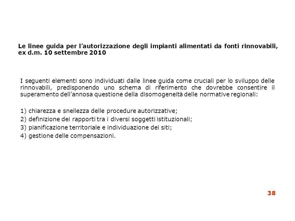 Le linee guida per lautorizzazione degli impianti alimentati da fonti rinnovabili, ex d.m. 10 settembre 2010 I seguenti elementi sono individuati dall