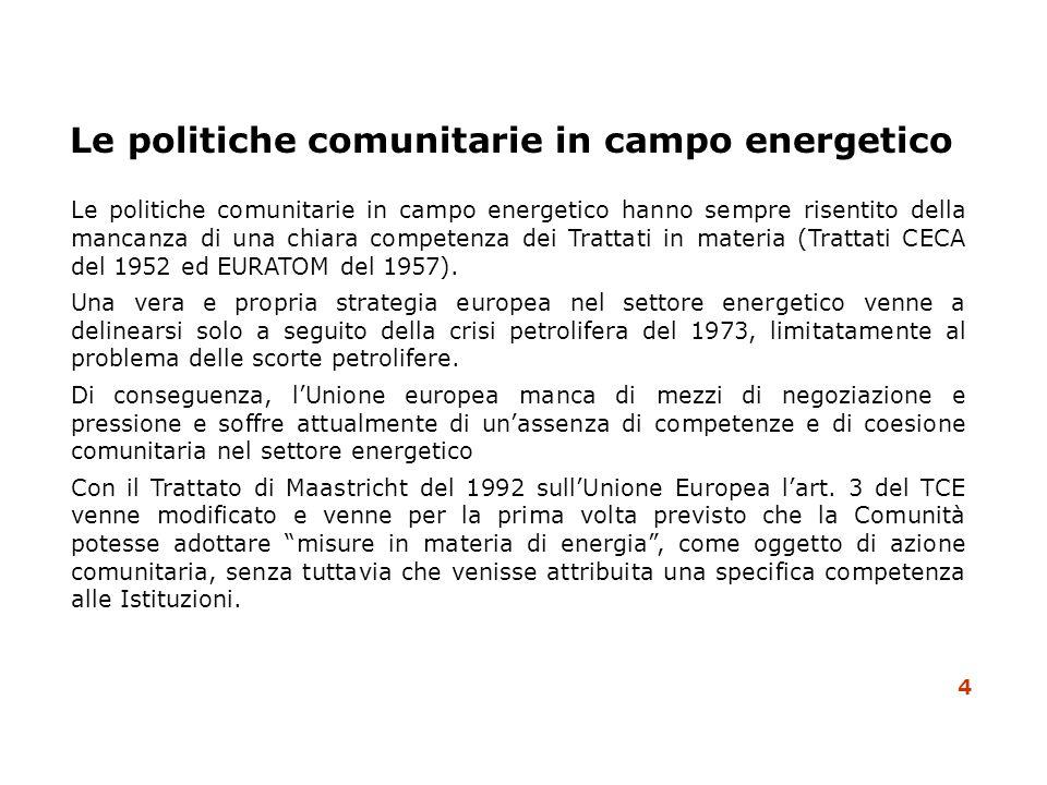 Le politiche comunitarie in campo energetico hanno sempre risentito della mancanza di una chiara competenza dei Trattati in materia (Trattati CECA del