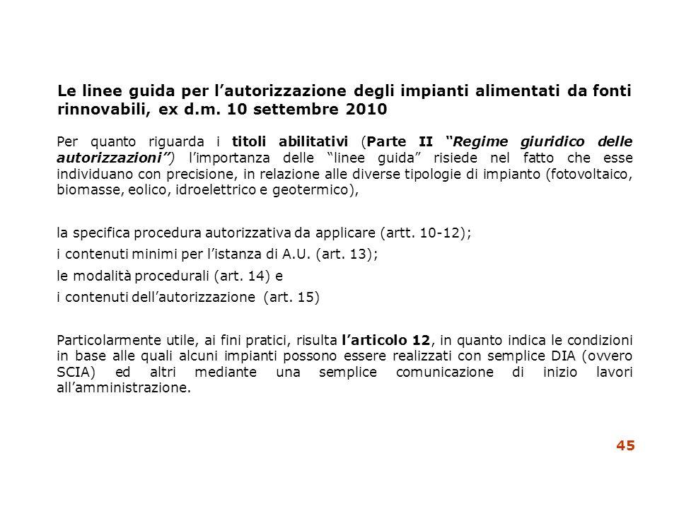 Le linee guida per lautorizzazione degli impianti alimentati da fonti rinnovabili, ex d.m. 10 settembre 2010 Per quanto riguarda i titoli abilitativi