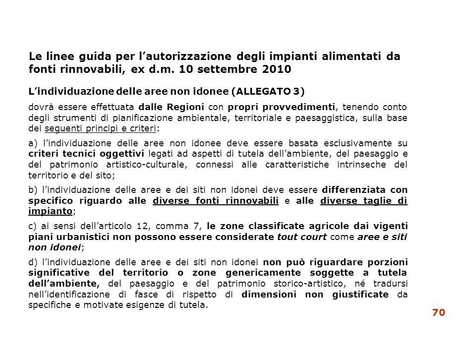 Le linee guida per lautorizzazione degli impianti alimentati da fonti rinnovabili, ex d.m. 10 settembre 2010 Lindividuazione delle aree non idonee (AL