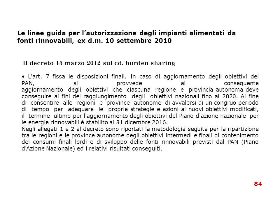 Le linee guida per lautorizzazione degli impianti alimentati da fonti rinnovabili, ex d.m. 10 settembre 2010 Il decreto 15 marzo 2012 sul cd. burden s