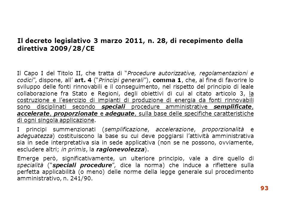 Il decreto legislativo 3 marzo 2011, n. 28, di recepimento della direttiva 2009/28/CE Il Capo I del Titolo II, che tratta di Procedure autorizzative,