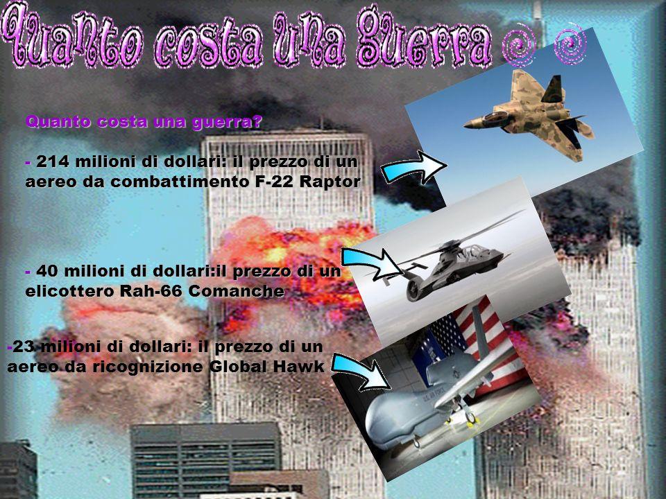 Quanto costa una guerra? - 214 milioni di dollari: il prezzo di un aereo da combattimento F-22 Raptor - 40 milioni di dollari:il prezzo di un elicotte