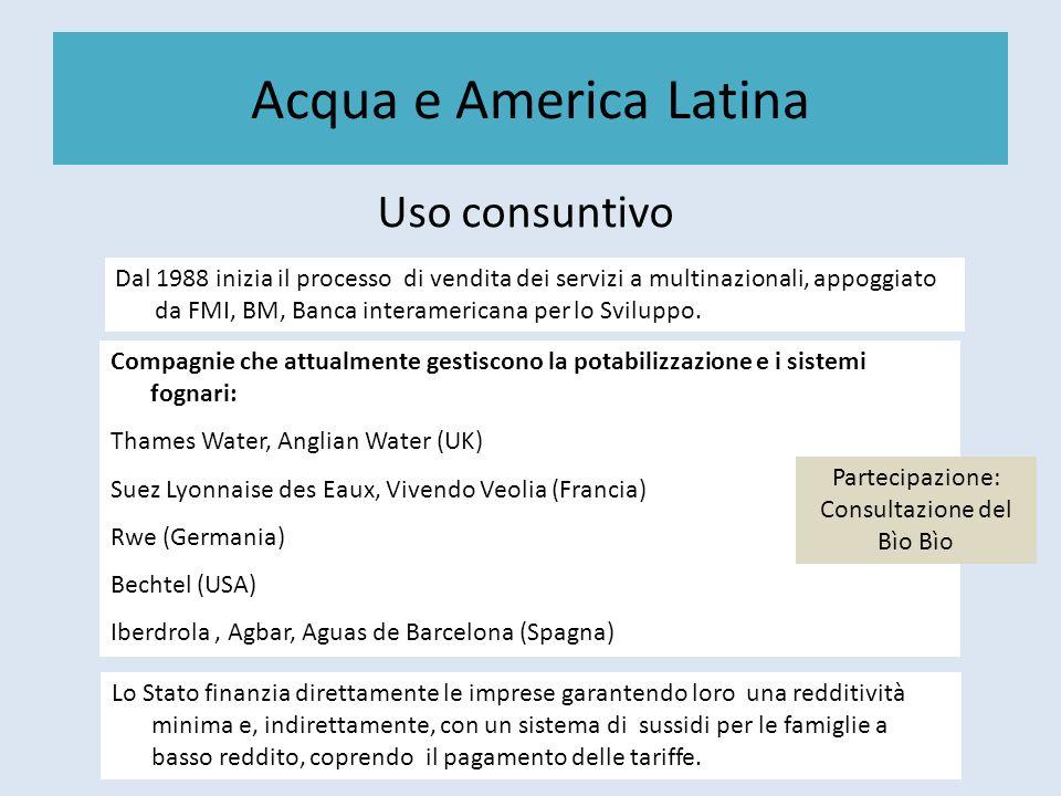 Acqua e America Latina Uso consuntivo Dal 1988 inizia il processo di vendita dei servizi a multinazionali, appoggiato da FMI, BM, Banca interamericana
