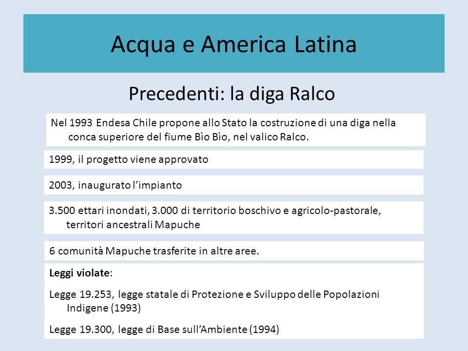 Acqua e America Latina Precedenti: la diga Ralco Nel 1993 Endesa Chile propone allo Stato la costruzione di una diga nella conca superiore del fiume B