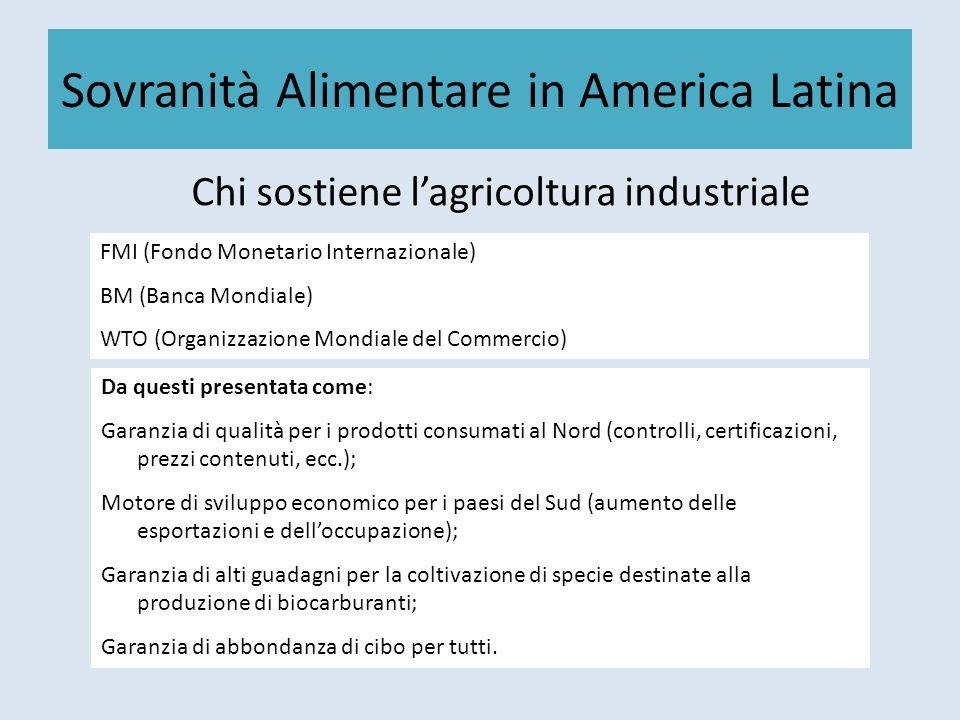 Sovranità Alimentare in America Latina Chi sostiene lagricoltura industriale FMI (Fondo Monetario Internazionale) BM (Banca Mondiale) WTO (Organizzazi
