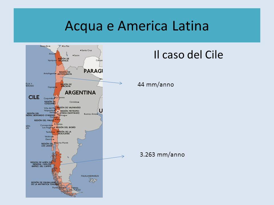 Acqua e America Latina La guerra del Agua (Bolivia) Ley 2029 Include le acque potabili, di irrigazione e per produzione idroelettrica Obbliga cittadini e contadini a collegarsi alla rete di distribuzione Include lacqua piovana Retroscena La Banca Mondiale si rifiutò di rinnovare un prestito di 25 ml di dollari se il paese non avesse accettato la privatizzazione del servizio idrico; La maggior azionista di Aguas del Tunari è la multinazionale statunitense Bechtel.