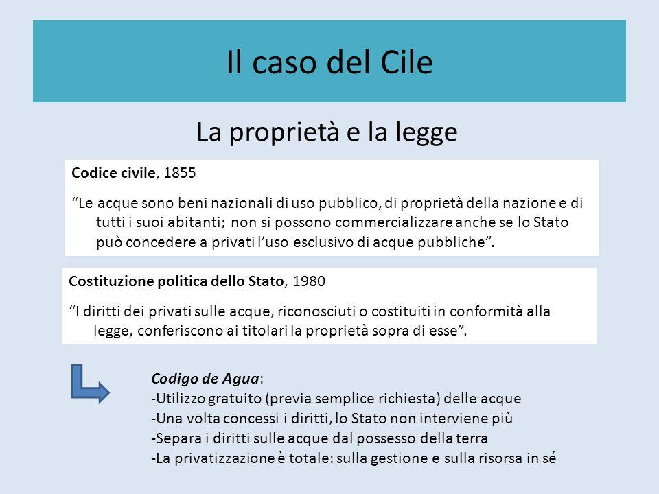 Il caso del Cile La proprietà e la legge Codice civile, 1855 Le acque sono beni nazionali di uso pubblico, di proprietà della nazione e di tutti i suo