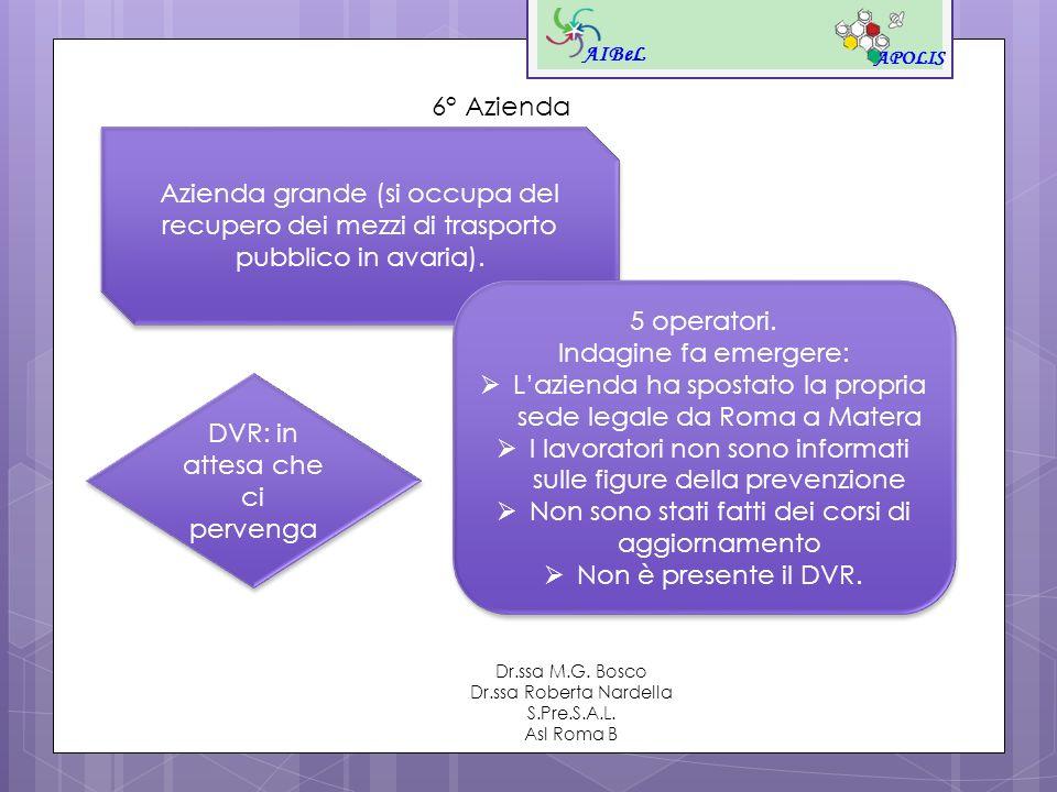 AIBeL APOLIS Dr.ssa M.G. Bosco Dr.ssa Roberta Nardella S.Pre.S.A.L. Asl Roma B 6° Azienda Azienda grande (si occupa del recupero dei mezzi di trasport