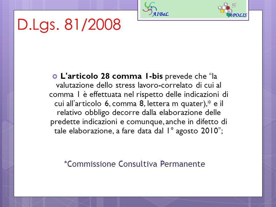 D.Lgs. 81/2008 L'articolo 28 comma 1-bis prevede che la valutazione dello stress lavoro-correlato di cui al comma 1 è effettuata nel rispetto delle in