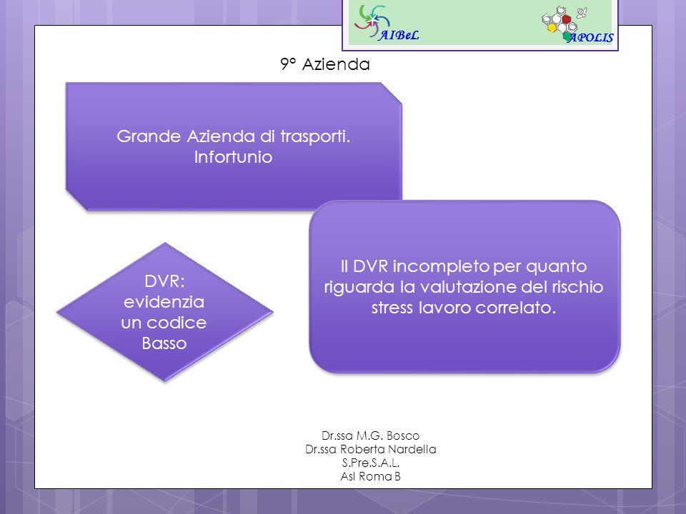 AIBeL APOLIS Dr.ssa M.G. Bosco Dr.ssa Roberta Nardella S.Pre.S.A.L. Asl Roma B 9° Azienda Grande Azienda di trasporti. Infortunio Grande Azienda di tr