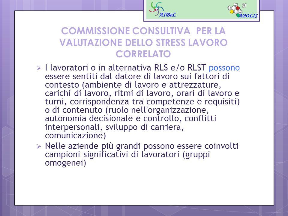 COMMISSIONE CONSULTIVA PER LA VALUTAZIONE DELLO STRESS LAVORO CORRELATO I lavoratori o in alternativa RLS e/o RLST possono essere sentiti dal datore d
