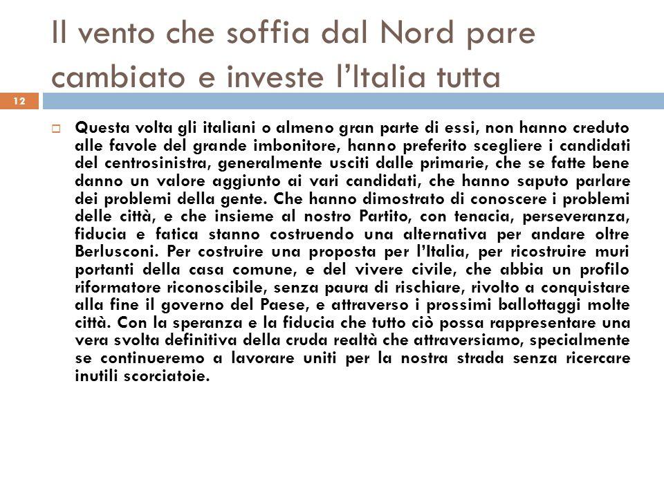 Il vento che soffia dal Nord pare cambiato e investe lItalia tutta 12 Questa volta gli italiani o almeno gran parte di essi, non hanno creduto alle fa