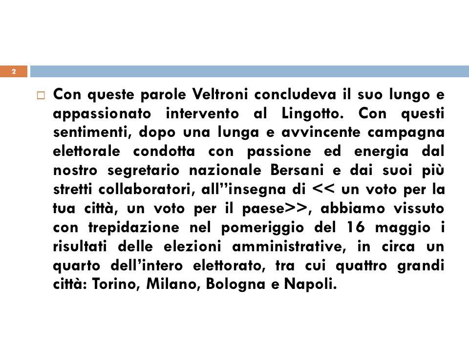 I trend della maggioranza in quattro città, rispetto alle regionali 2010 3 PDL: Milano da 36,0%, a 28,7% Torino da 21,8%, a 18,3% Bologna da 25,1%, a 16,6% Napoli da 33,8%, a 23,8% Lega NORD: Milano da 14,5%, a 9,6% Varese da 26,7%, a 24,1% Torino da 10,1%, a 6,8 Bologna da 8,6%, a 10,7%